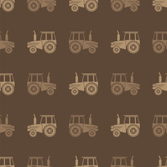 Tractor Icon Seamless Pattern on Brown Background. Agricultural Transport for Farm