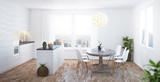 Cucina bianca in legno nuova con parquet e finestre