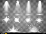 Fototapety White glowing light burst explosion with transparent. Vector illustration for cool effect decoration  ray sparkles. Bright star.  shine gradient glitter,  flare. Glare texture.
