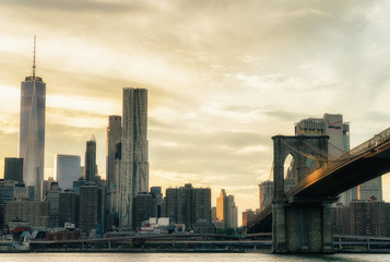 Brooklyn Bridge. The bridge is often featured in wide shots of the New York City skyline in television and film.