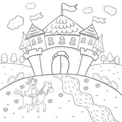 coloring book knight on horseback and magic castle design for kids.