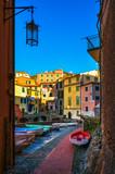Tellaro village street and boats. Cinque terre, Ligury Italy