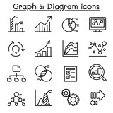 Graph & Diagram icon set in thin line style