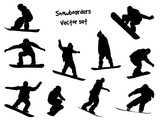 vector silhouettes snowboarders