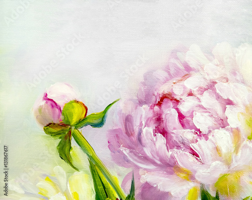 Pink and white peony background. Oil painting floral texture - 131867617