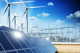 Modern electric grid lines and renewable energy concept with photovoltaic panels and wind turbines - 131872217