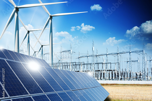 Modern electric grid lines and renewable energy concept with photovoltaic panels Poster