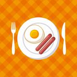 palte with egg and sausages over orange background. colorful design. vector illustration