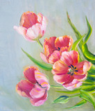 Vintage red tulips. Oil painting on canvas. - 131878677
