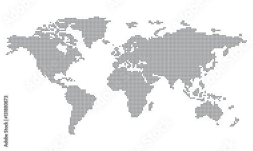 Fotobehang Wereldkaarten Vektor - Weltkarte (Quadrat/Pixel; fein) / Vector - World map (Square/Pixel; fine)