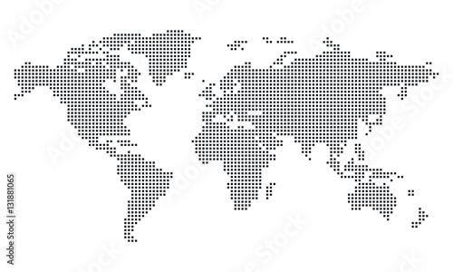 Fotobehang Wereldkaarten Vektor - Weltkarte (Quadrat/Pixel; gross) / Vector - World map (Square, Pixel; large)