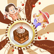 Detaily fotografie Illustration of kids with chocolate cake