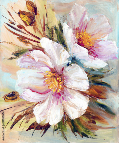 Pink and white peony background. Oil painting floral texture © Valenty