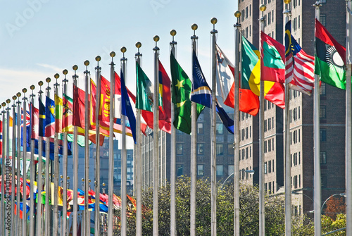 Flags of all nations outside the UN in New York City. Poster