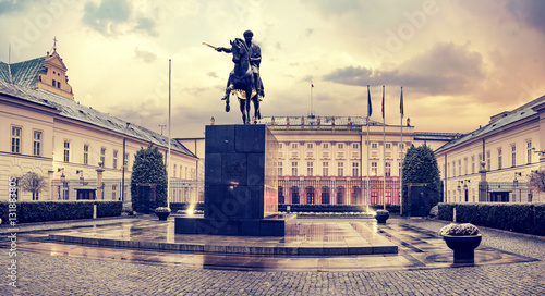 the presidential palace in Warsaw-vintage,retro