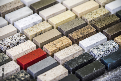 Kitchen granite countertops color samples lined up - 131903866