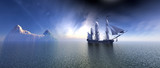 Pirate Ship In blue sky and beautiful ocean 3d rendering