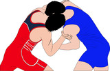 two men wrestlers in Greco-Roman wrestling at competitions. color silhouette vector illustration