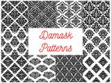 Damask ornate tracery seamless patterns set