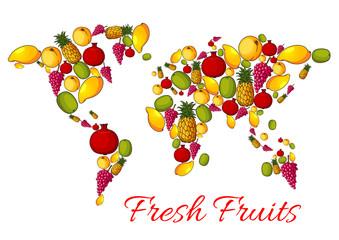 World map of vector fresh fruits