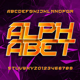 Futuristic alphabet vector font. Oblique type letters and numbers on a polygonal background. Vector typeset for your design.