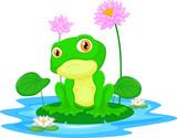 Green frog sitting on a leaf