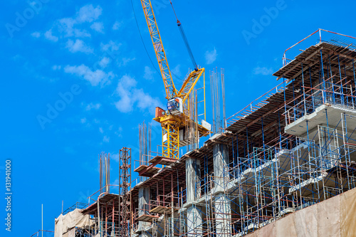 Foto op Canvas Texas building construction site with crane tower machinery