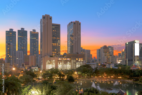 Bangkok modern office buildings, condominium in Bangkok city dow