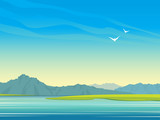 Lake, mountains and birds. Summer landscape.