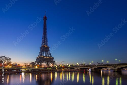 The Eiffel tower at sunrise in Paris - 131952433