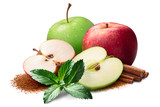 Red and green apples with cinnamon and mint, paths