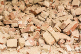 A pile of red bricks from the destroyed buildings
