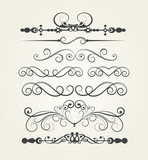 set. Victorian Scrolls. Decorative elements.