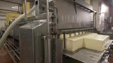Newly produced butter at dairy plant