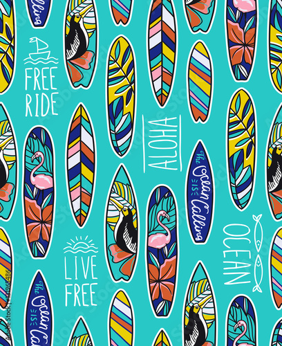 Cotton fabric Seamless vector pattern with bright surfboards and stylish phrases on the blue background.