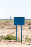 blue sign in the desert