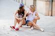 Girlfriends having fun outdoor