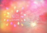 Enjoy weekend on Beautiful pink pastel sky with sun and cloud with bokeh effect
