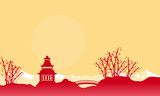 Silhouette of bridge and pavilion landscape Chinese New Year