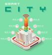 Isometric smart city communication capital concept,  ilustrator Vector