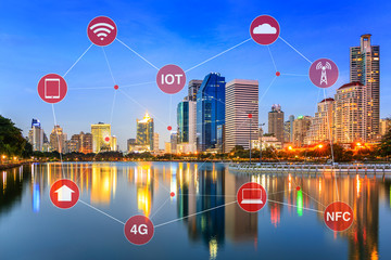 Smart City Concept Illustrated by Networking and Internet of Things or IOT