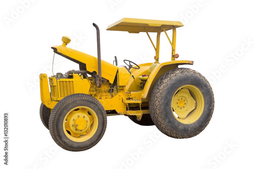 Poster the old yellow tractor isolated on white background