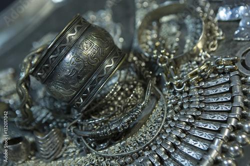 Plagát Treasure, heap of Beautiful Oriental Silver Bridal jewelry (Indi