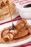 Dutch pancakes with syrup or pannenkoeken met stroop