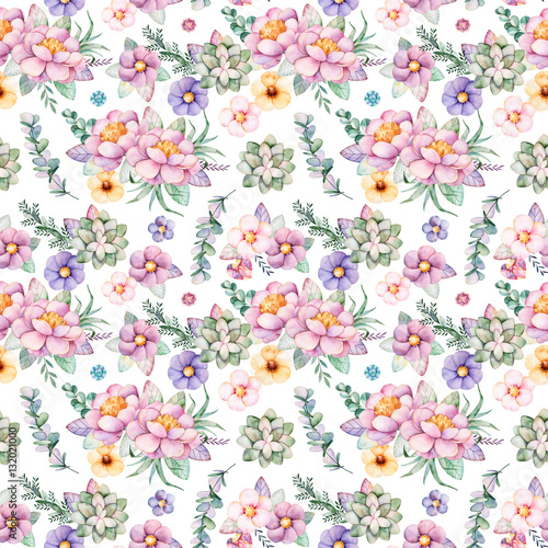 Lovely Seamless pattern with flowers,peonies,leaves,branches,eucalyptus,succulents,gemstones and more.Perfect for your project,wedding,greeting card,packaging,wallpaper,pattern,texture,cover,Birthday - 132021000
