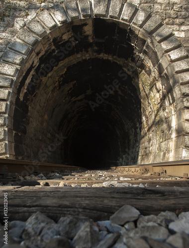 In de dag Path Into the railway tunnel