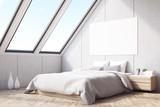 Corner of attic bedroom, wood