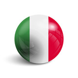 Realistic ball with flag of Italy. Sphere with a reflection of the incident light with shadow.
