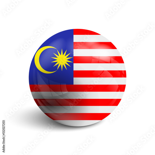 Poster Realistic ball with flag of Malaysia