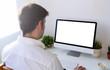 man working white screen computer